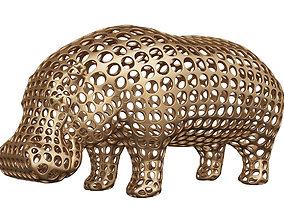 Hippopotamus Voronoi Wireframe 3D printable model