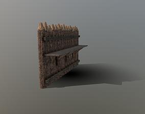 Palisade Wall 3D asset