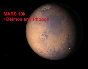 3D model Mars 10k with Deimos and Phobos