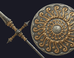 3D model Fantasy Long Spear and Big Round Shield