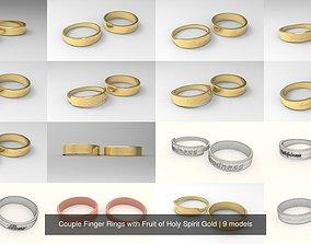Couple Finger Rings with Fruit of Holy Spirit 3D model