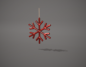 3D model Red Snowflake Decoration