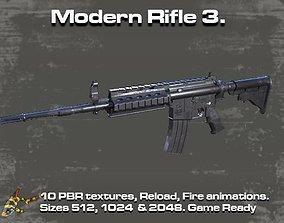 3D asset Modern Rifle 3