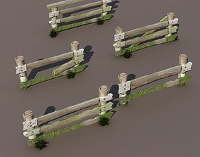 Fence Wood Low Poly 3d Model game-ready