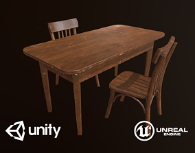 3D model Game Ready Old Table and Chair