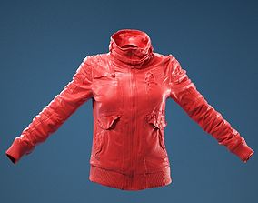 3D model Light Brown Leather Jacket Closed