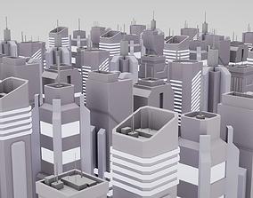 7 Lowpoly SciFi Skyscrapers 3D model