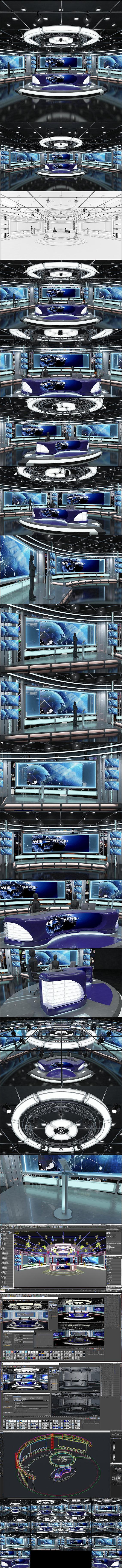 Virtual TV Studio News Set 1 - 3D Model Designs