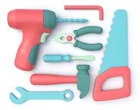 3D model Stylized Cartoon Tool Set