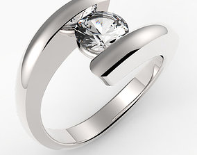 3D print model Cross Over Band Solitaire Ring