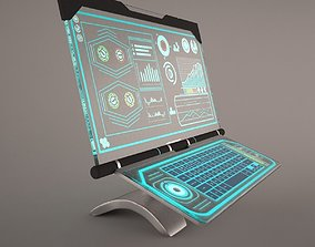 3D Sci-Fi Computer With Glassy Hologram Screen