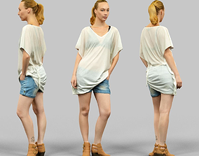 3D asset realtime Transparant top and jeans short Girl