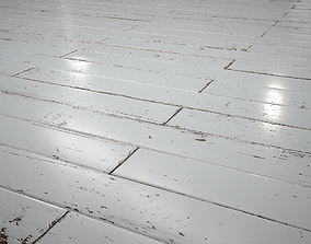 3D asset White Painted brickbond parquet - PBR textures