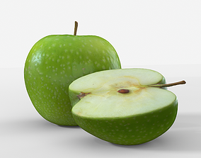 low-poly Green Apple Fruit 3D model Photoscan sliced