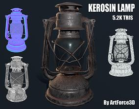 Oil lamp 3D asset game-ready PBR