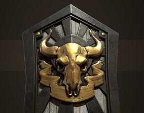 3D asset Medieval skull shield