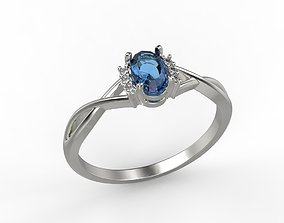 Women ring with gem and diamonds 3dm stl CAD jewel