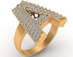 A Letter Ornament Diamond Gold Ring 3D print model