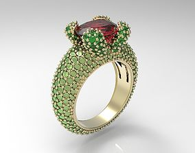 Ring with oval gem 3D print model