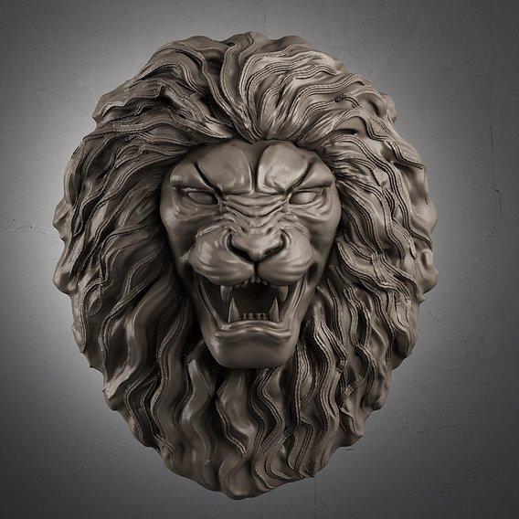 Lion Head Sculpture 3d print model