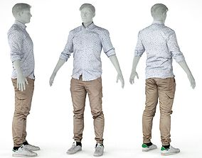 3D asset Male Casual Outfit 1 Shirt Pants Sneakers