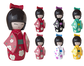 3D asset game-ready Kokeshi Japanese doll