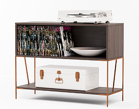 3D model Dean Record Cabinet-console with Yamaha Turnable