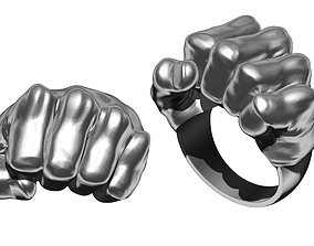 3D print model High detailed Fist of straight jewel ring