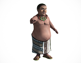 3D Fat african cartoon rigged