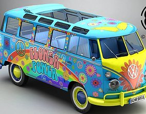3D model Volkswagen Type 2 Samba 1963 Hippie