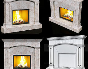 contemporary marble fireplace 3D model