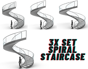 3D model Spiral Staircase Set of 3 types of railings 1
