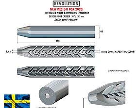 Airgun silencer REVOLUTION 30 parts 3D print model