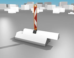 White and Red Road Traffic Barriers - Part 14 - 3D model