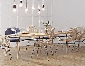 Scandinavian Style Interior Dining Table Scene 3D