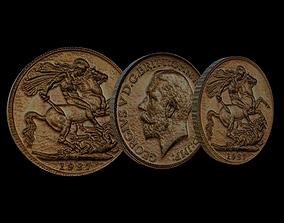 Coin - George V Sovereign 3D asset