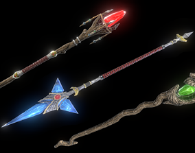 3D model Stylized staffs low poly set
