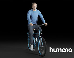 3D Humano Casual Man in blue sweater Cycling 0205