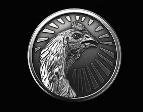 Medallion Fighting Cock Rooster Coq 3D print model