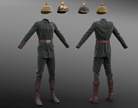 3D asset low-poly German WW1 Uniform