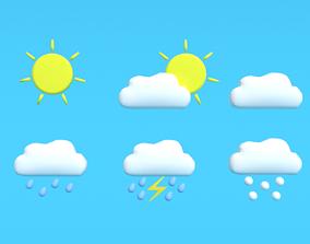 Low Poly Cartoon Weather Symbols 3D asset