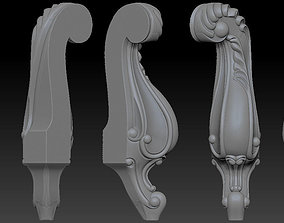 CABRIOLE CARVED Furniture Leg 3D Models set 2