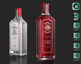 3D model Bombay Dry Gin Bramble bottles set 03