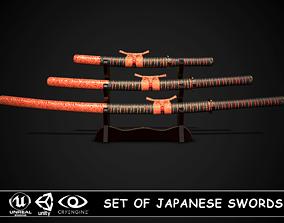 Set of japanese swords 03 3D