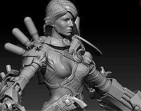 High poly Steam Punk Girl 3D model