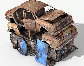 Destroyed Cars 3D asset