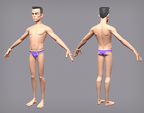 Cartoon male character Den base mesh 3D model