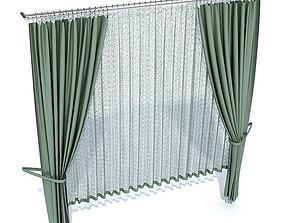 3D model Green Long Curtains