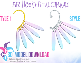 Cosplay Ear Hooks with Petal Charms 3D printable model 1
