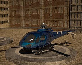 low poly euro helicopter 3D asset